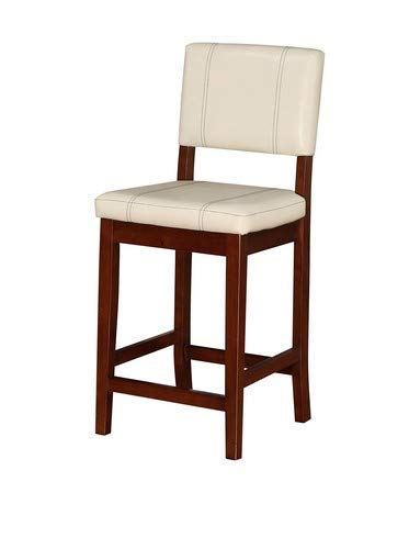 "Linon Milano Counter Stool, 18""W x 20""D x 39""H, Medium Cream/Dark Walnut"