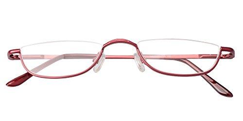 SOOLALA Vintage Designer Alloy Flat Top Half Frame Stylish Slim Reading Glasses, Red, 2.25 by SOOLALA (Image #5)