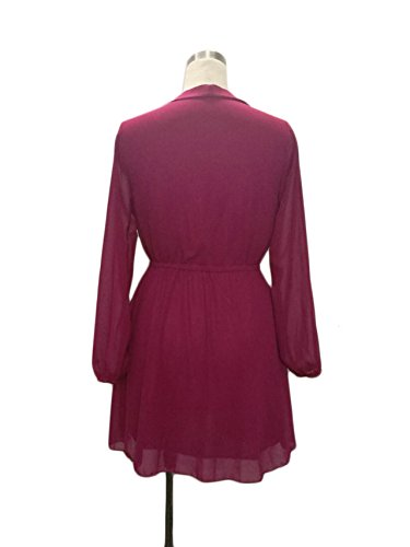 Ballkleider Frauen Elegante Langärmlig Kleid V-Ausschnitt Kreuzgurte Chiffonkleid Elastische Taille Freizeitkleid