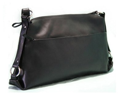 BACCINI sac bandoulière femme LUCIA - XL - sac en cuir avec bretelle - sacoche noir en cuir véritable (52 x 30 x 9 cm)