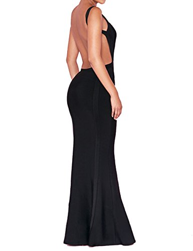 UONBOX Women's Open Back Fishtail Formal Evening Cocktail Long Maxi Bandage Dresses (S, Black-Polyester) (Gown Evening Back)