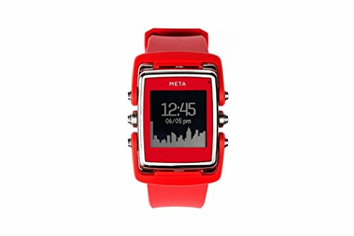 Meta Watch M1 Luxury Smart Watch for iPhone 4S and Above and Andriod 4.3 and Above Stainless Steel Face Red Natural Rubber Strap - SS Face Red Natural Rubber Strap by META WATCH LTD