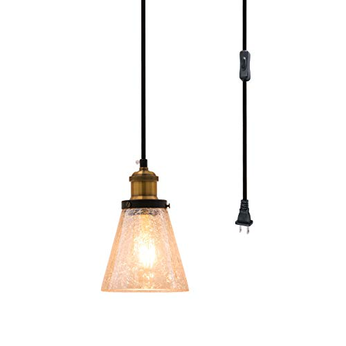 Modern Mini Pendant Light, Hand Blown Amber Crackle Glass Shade with 13Ft Plug in Cord and On/Off Switch, Adjustable Vintage Edison Farmhouse Hanging Lamp for Kitchen Island Bedroom Dining Room Bar
