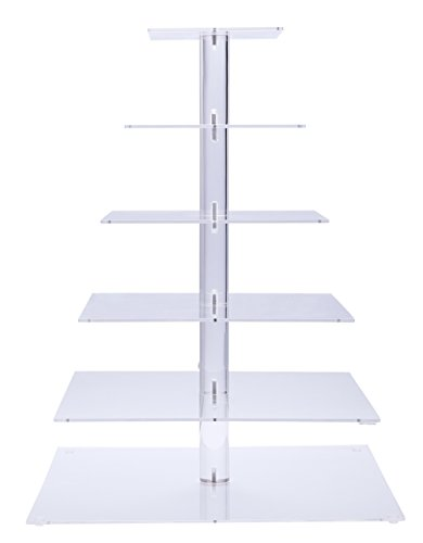 BonNoces Six 6 Tier Square Acrylic Wedding Cake Stand/Cupcake Tower/Dessert Display/Tea Party Serving Platter for Wedding Party (Cheap Cupcake Stand)
