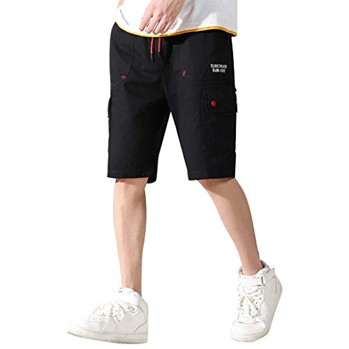 Men's Elastic Cargo Shorts, Mmnote Drawstring Cool Belt Simple Comfort Stretch Fit Shorts,A-Black