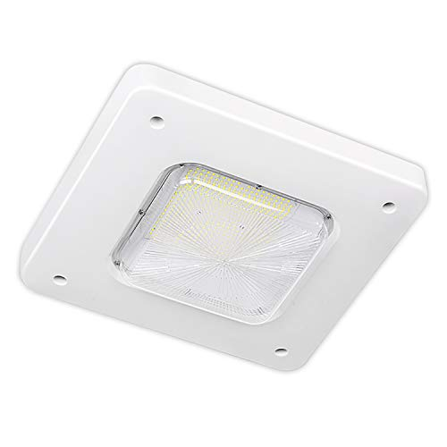 (Hykolity LED Gas Station Canopy Light, 150W(400W MH Equivalent)18000LM Surface Mount Outdoor Rated Commerical Canopy Light, Weatherproof 5000K High Bay Carport Driveway Ceiling Light DLC Complied)