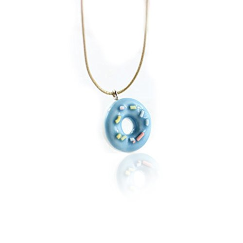 COLORFUL BLING Cute Handmade Fresh Donuts Resin Ceramic Pendant Necklace For Students Girl BBF Best Friends - Blue