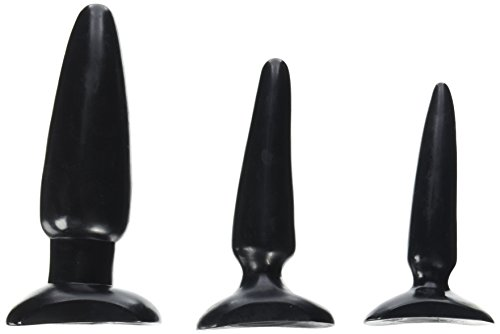 CalExotics ColtAnal Trainer Kit - 3 Piece Male Butt Plug Set - Waterproof Fetish Sex Toys for Couples - Black, Best Gay Men's Sex Toys