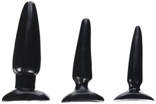 CalExotics ColtAnal Trainer Kit - 3 Piece Male Butt Plug Set - Waterproof Fetish Sex Toys for Couples - Black, Best Real Dolls