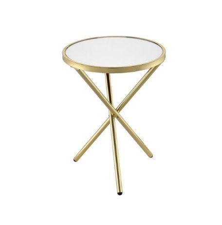 (ModHaus Living Mid Century Modern Glass Metal Round Side End Table with Triple Cross Leg - Includes Pen (Mirror Top and Gold)