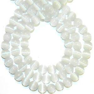 Steven_store G1640 White 8mm Round Fiber Optic Cat's Eye Glass Beads 14