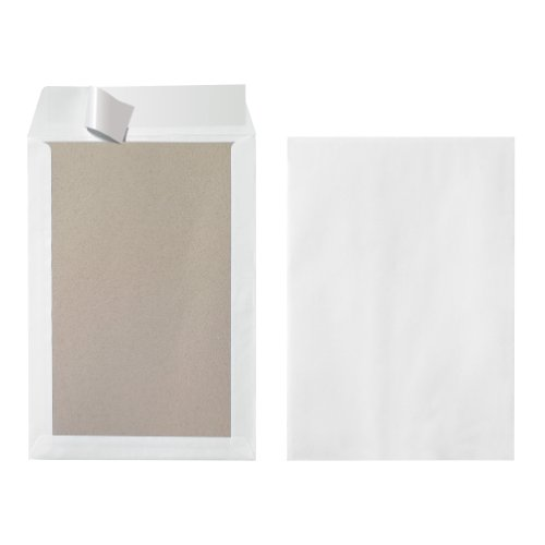 Herlitz 10901049 Versandtasche B4 mit Papprückwand,weiß, 10 Stück eingeschweißt mit Haftklebung