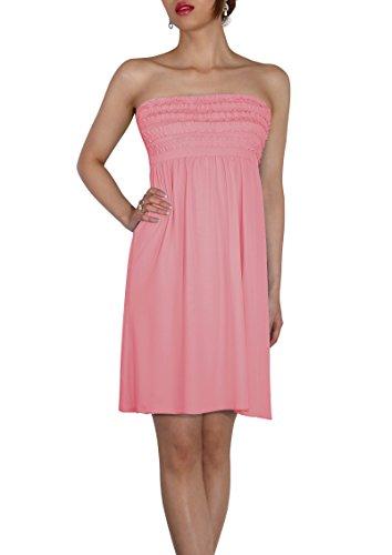 SodaCoda Women's Beach Strapless Summer Dress knee lenght - One size - Rose