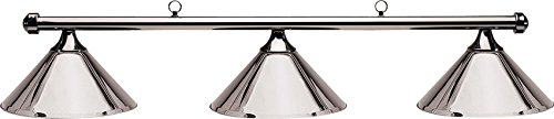 Hj Scott Billiard Table Light with Gunmetal Bar and 3 Plated Metal Shades, 55-Inch