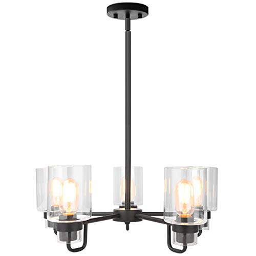 Contemporary 5-Light Large Chandeliers Modern Clear Glass Shades Pendant Lighting Black Dining Room Lighting Fixtures Hanging Height Adjustable Ceiling Lights (5-Light)