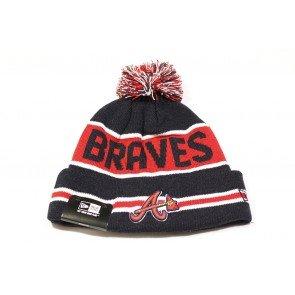 Atlanta Braves The Coach Striped Cuffed Pom Knit Beanie Cap