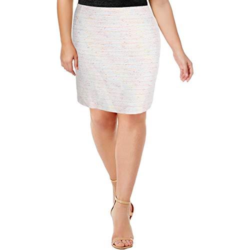 Tahari ASL Womens Tweed Metallic Pencil Skirt Ivory ()