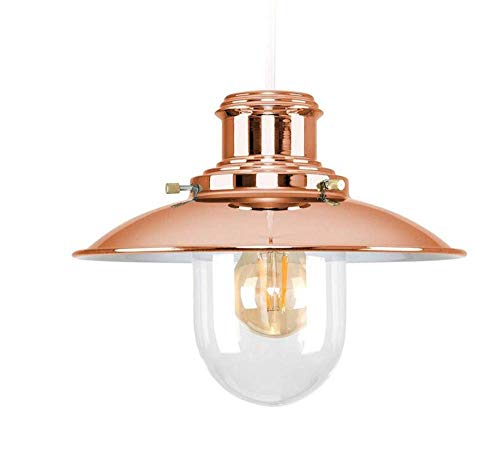 - Ceiling Lights Lamps Chandeliers Pendant Light Fixtures Polished Copper Metal and Glass Fisherman's Vintage Style Lantern Easy Fit Ceiling Lamp Pendant for Bedroom Living Room Kitchen Aisle Restauran