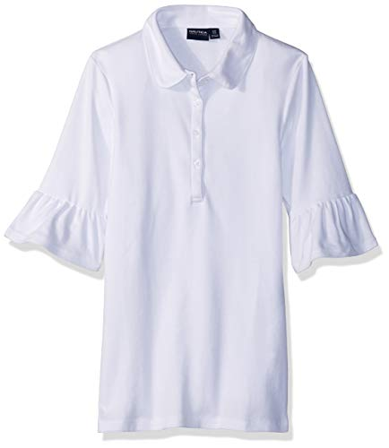 Nautica Junior's Uniform Short Ruffle Bell Sleeve Polo Shirt, white, Large(11/13) (White Polo Tshirt Girl)