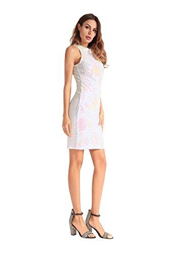 Jupe de Courte Crayon 1920s Mariage Cocktail Soir Flapper Double Serre lgant Robe Robe YiJeee Blanc du Paillettes Femme Y1anWxwZ
