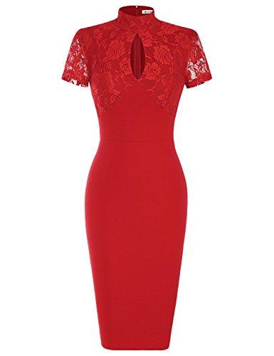 - MUXXN Women's 1940's Vintage Floral Lace Keyhole Bodycon Hot Pencil Dress(XL,Red)