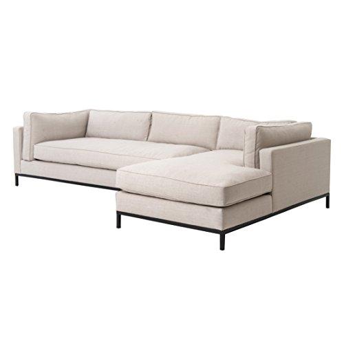 Diorama Modern Black Steel Light Grey Right Arm Sectional Sofa