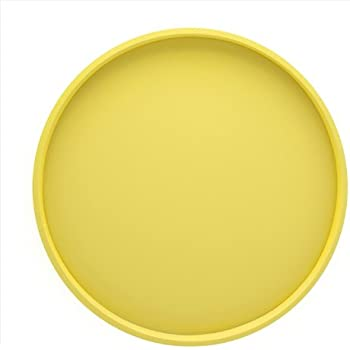 Kraftware Bartenders Choice Fun Colors Collection 14-Inch Round Serving Tray, Lemon