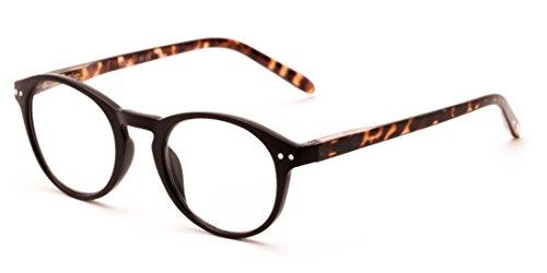 Readers.com The Dandelion +2.00 Matte Black/Tortoise Plastic Trendy Round Reading - Glasses Trendy Reading