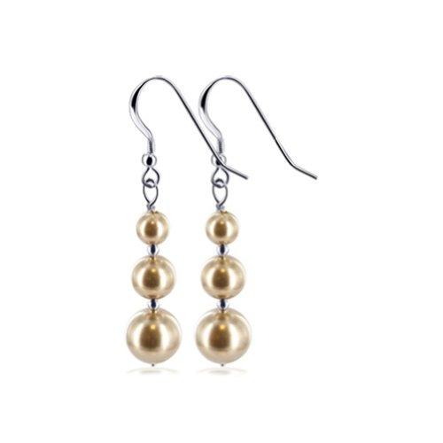 (Gem Avenue 925 Sterling Silver Brown Faux Pearl Handmade Swarovski Elements Crystal Drop Earrings for Women)