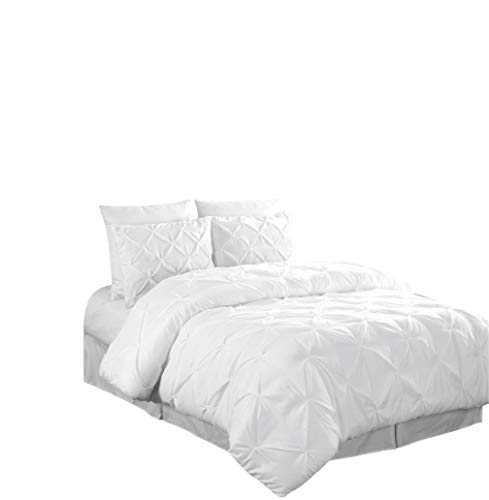 Chezmoi Collection Berlin 2-Piece Pintuck Pinch Pleat Comforter Set (Twin, White) (Bag Twin White A Bed In)