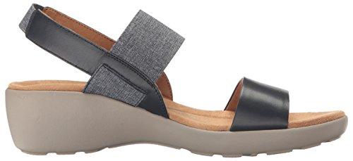 Lätt Anda Kvinna Kaffi Wedge Sandal Marin / Blå Multi Läder