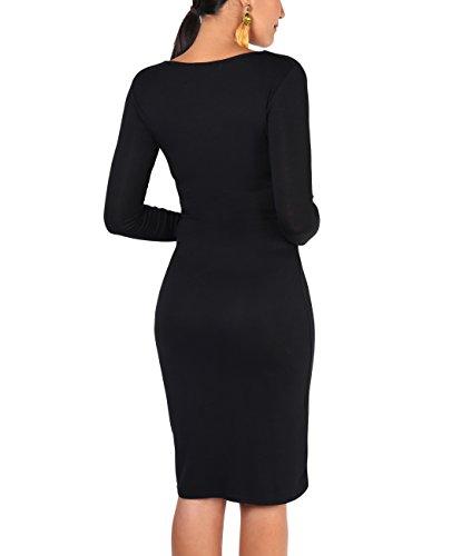 4 KRISP Dress Stretch Black Crossover Spring 3 Plain Women Sleeve Wrap Front wwpqTUA