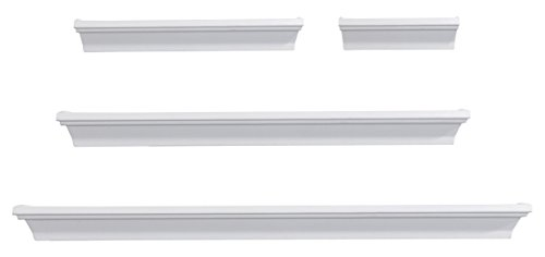 Melannco Floating Wall Mount Molding Ledge Shelves, Set of 4, White ()