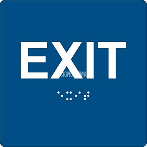"""ADA EXIT Sign Braille Grade II, 6""""x6"""", Double Sided Tape (Blue/White)"""