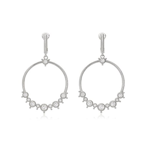 Judith Ripka Crystal Ring - JUDITH RIPKA Santorini White Topaz Forward Facing Hoop Earrings