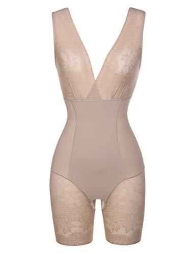 FeelinGirl Women's Lace Bodyshaper Breathable Double Firm Control Shapewear Thong,Plus Size
