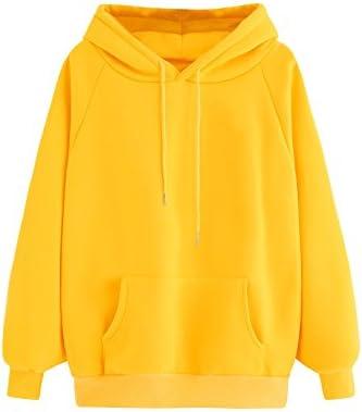 MakeMeChic Women's Winter Drawstring Pocket Hoodies Pullover Tops Sweatshirt