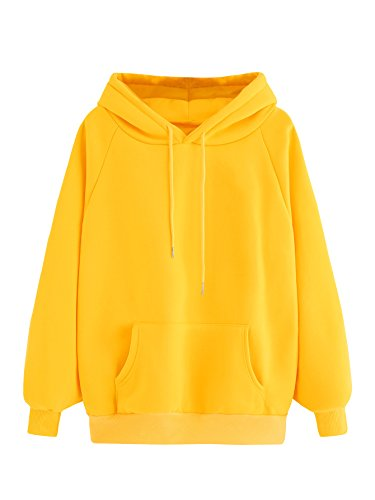 MAKEMECHIC Women's Winter Solid Color Loose Drawstring Pocket Hoodie Pullover Tops Yellow