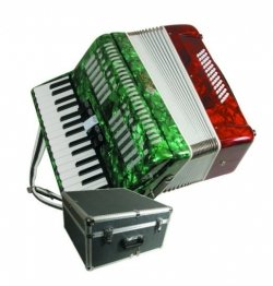 Mirage T5005TC Accordion with 34 Piano Keys in Marbleized Tri-Color Mexican Flag-Style Finish by Mirage