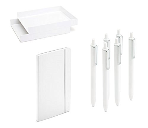 ce Desk Accessory Writing Gift Collection Set with Front Load Stackable 2 Tier Letter Trays, Medium Size Soft Cover College Ruled Notebook Paper and Retractable Gel Luxe Pens White ()