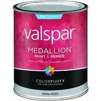 Valspar Brand 1 Quart Flat White Medallion Exterior Latex House Paint 27-45501