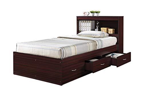 Hodedah HIBT60 Mahogany Beds, Twin,