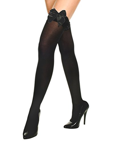 Black Opaque Thigh Highs Satin Bow Detail Womens Sexy Fashion Accessory Sizes: One Size
