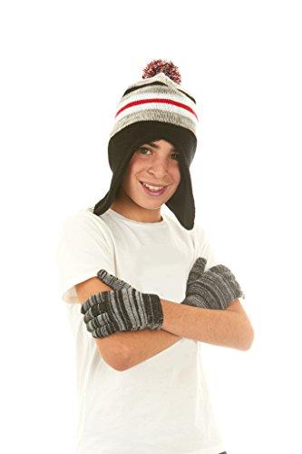 Polar Wear Boys Knit Winter Peruvian Ear Flaps Beanie Hat & Gloves Set Black (Polar Edge)
