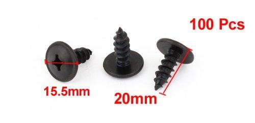 eDealMax 100 piezas DE 20 mm de Largo Negro Metal Phillips perno de cruceta tornillo Sujetador