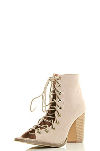 Yoki Womens Open Peep Toe Lace Up Strappy Corset Ankle Booties Chunky High Heel Boots