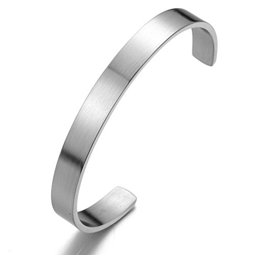 18CM Stainless Steel Cuff Bangle Bracelet for Men for Women Minimalist Silver Color Satin