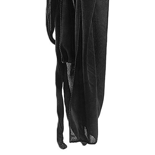 Wenjie Hombres Mujeres Seda Sat/én Transpirable Sedoso Durag 360 Wave Cool Bandana Sombrero Turbante Negro