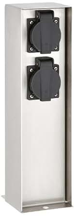 Mcj Kon2Sg/St - Baliza eléctrica para exteriores con 2 enchufes (acero inoxidable)
