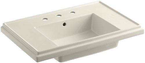 (KOHLER K-2758-8-47 Tresham 30-Inch Pedestal Bathroom Sink Basin with 8-Inch Widespread Faucet Drilling, Almond)